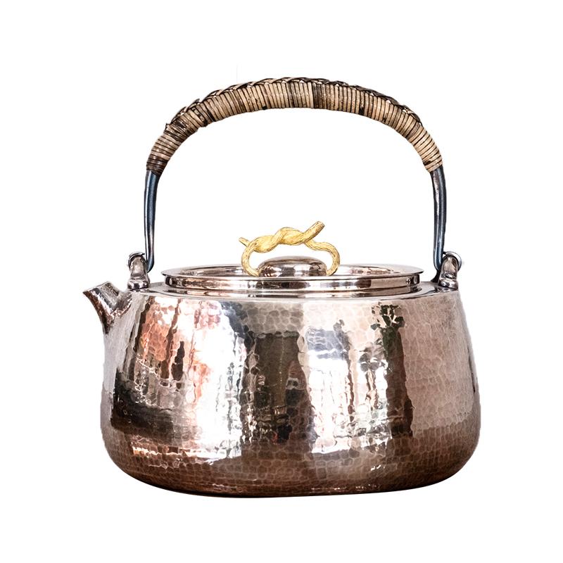金藤锤纹手工银壶(烧水壶)